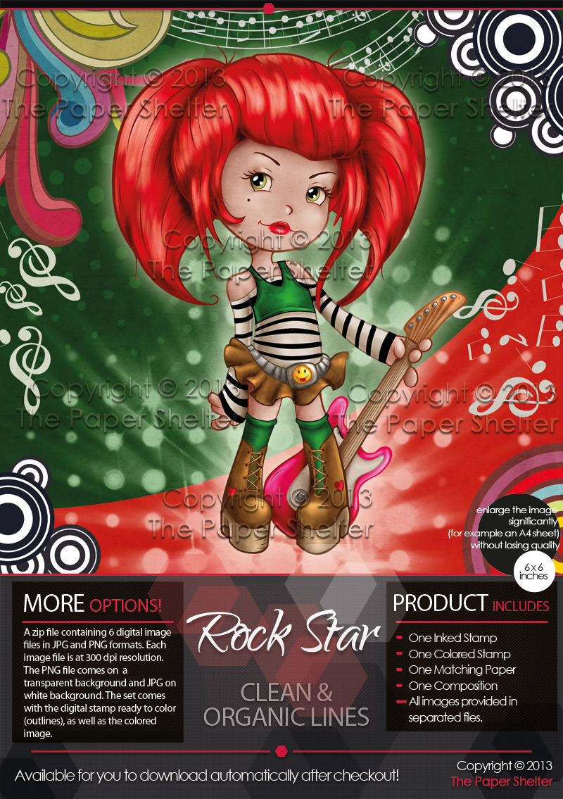 Rock Star - Digital Stamp - Click Image to Close