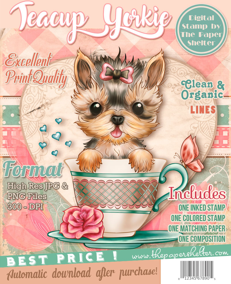 Teacup Yorkie - Digital Stamp - Click Image to Close
