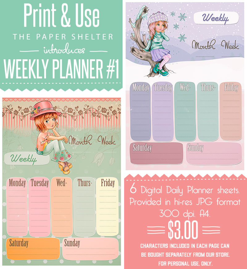 image about Digital Day Planner named Weekly Planner 01 - Printable Package - Its Free of charge! : Electronic