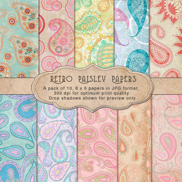 "Retro Paisley Papers - ""Paper Pack"""