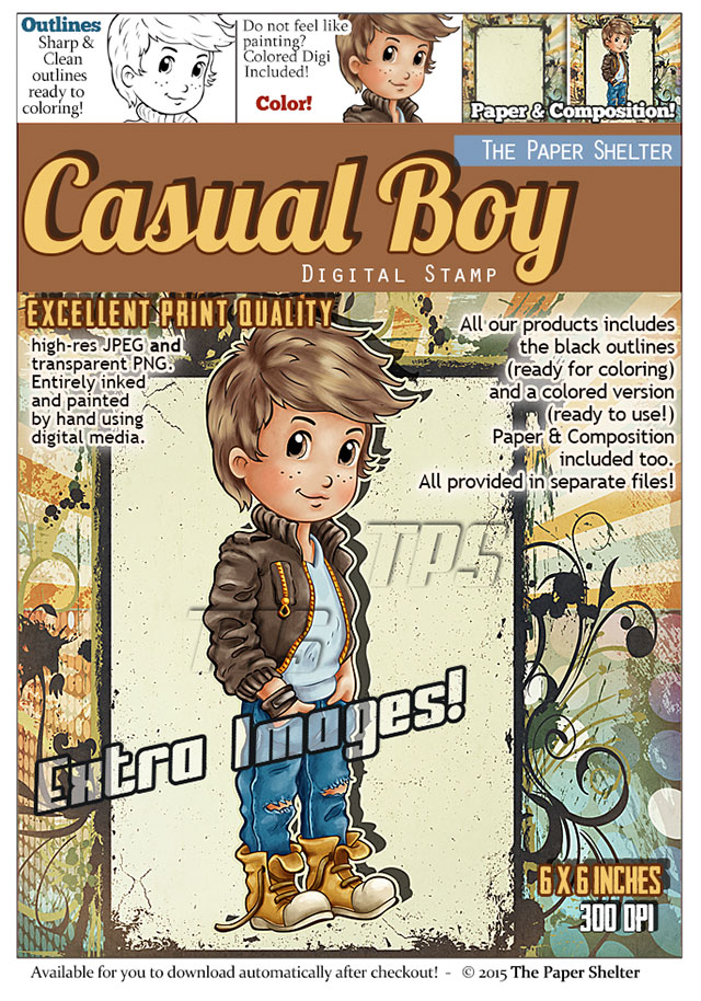 Casual Boy - Digital Stamp