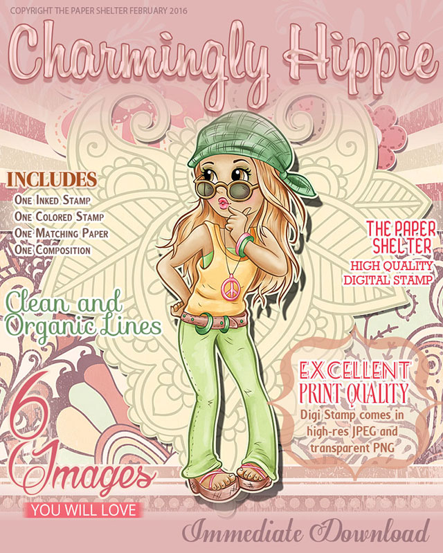 Charmingly Hippie - Digital Stamp