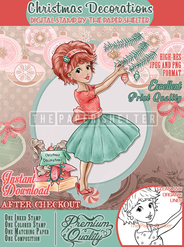 Christmas Decorations - Digital Stamp