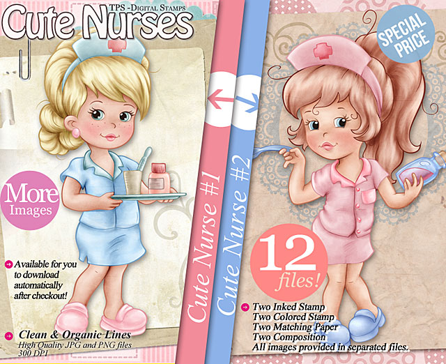 Cute Nurses - Digi Stamps