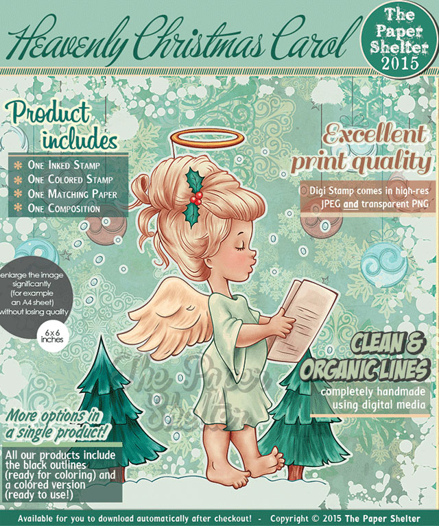 Heavenly Christmas Carol - Digital Stamp