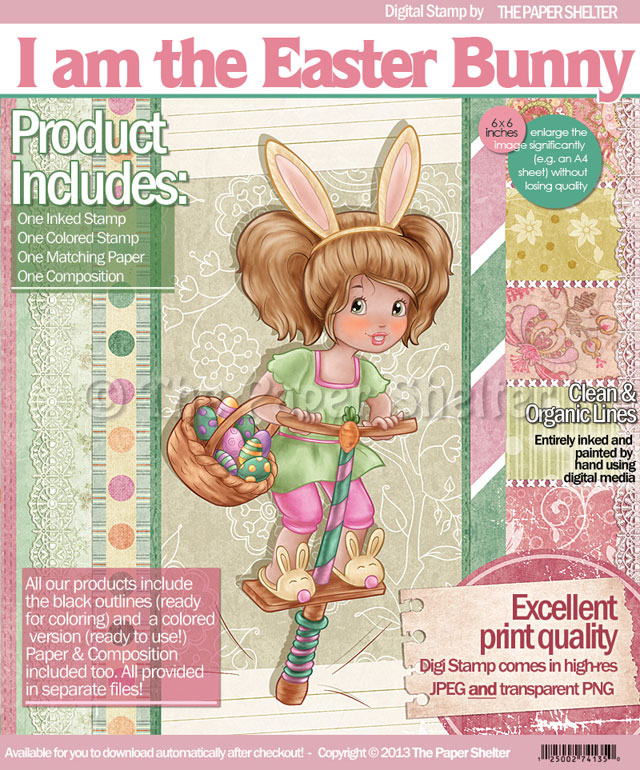 I am the Easter Bunny! - Digital Stamp