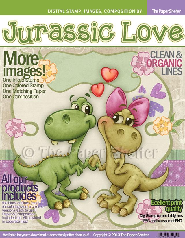 Jurassic Love - Digital Stamp