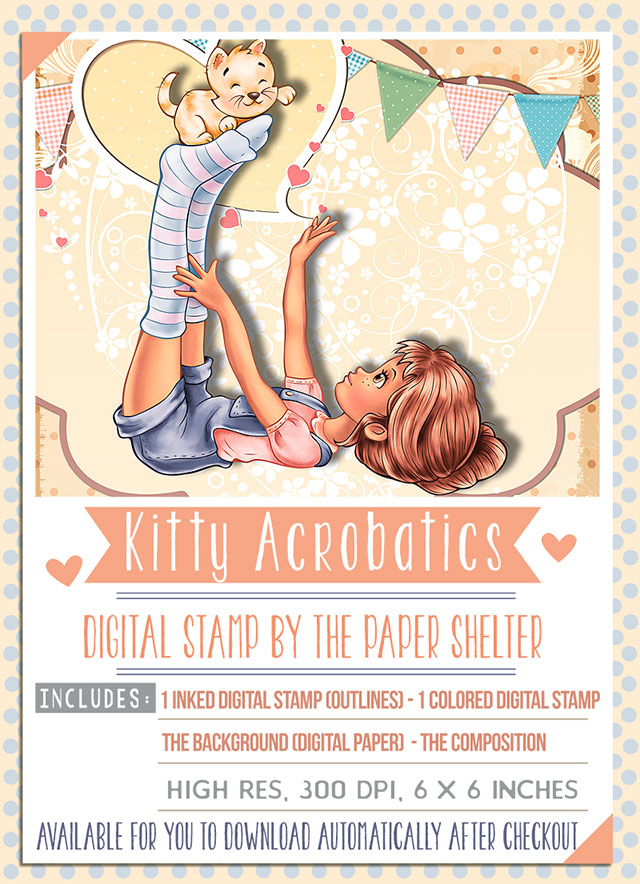 Kitty Acrobatics - Digital Stamp