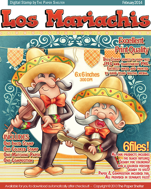 Los Mariachis - Digital Stamp