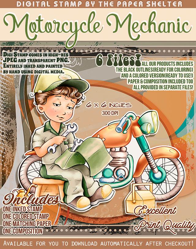 Motorcycle Mechanic - Digital Stamp