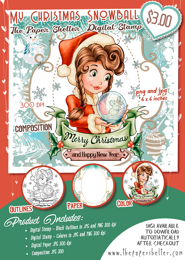 My Christmas Snowball - Digital Stamp