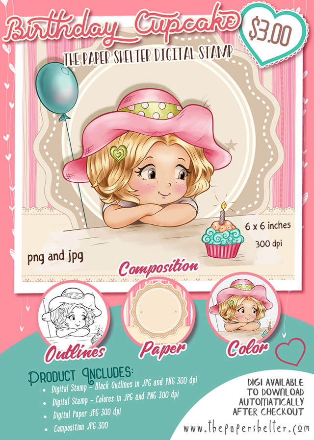 Cupcake Birthday - Digital Stamp