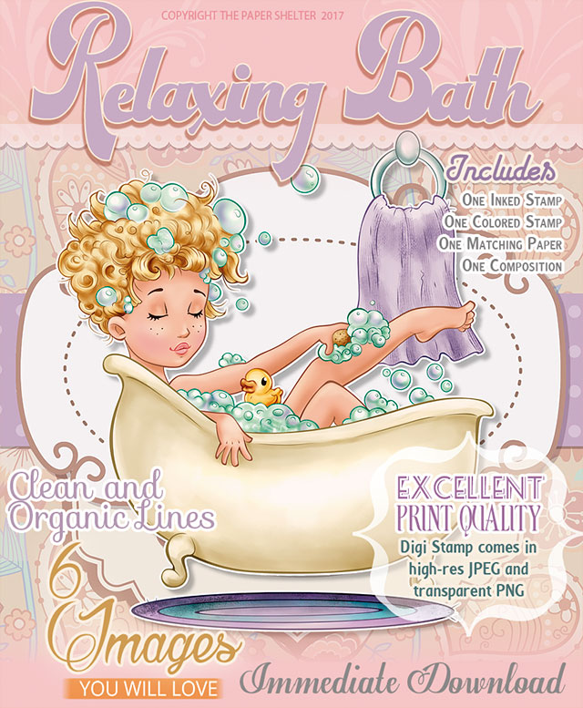 Relaxing Bath - Digital Stamp