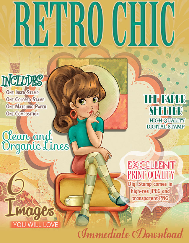 Retro Chic - Digital Stamp