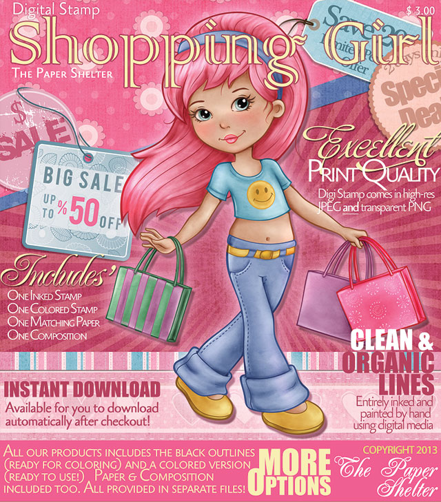Shopping Girl - Digital Stamp *New Version