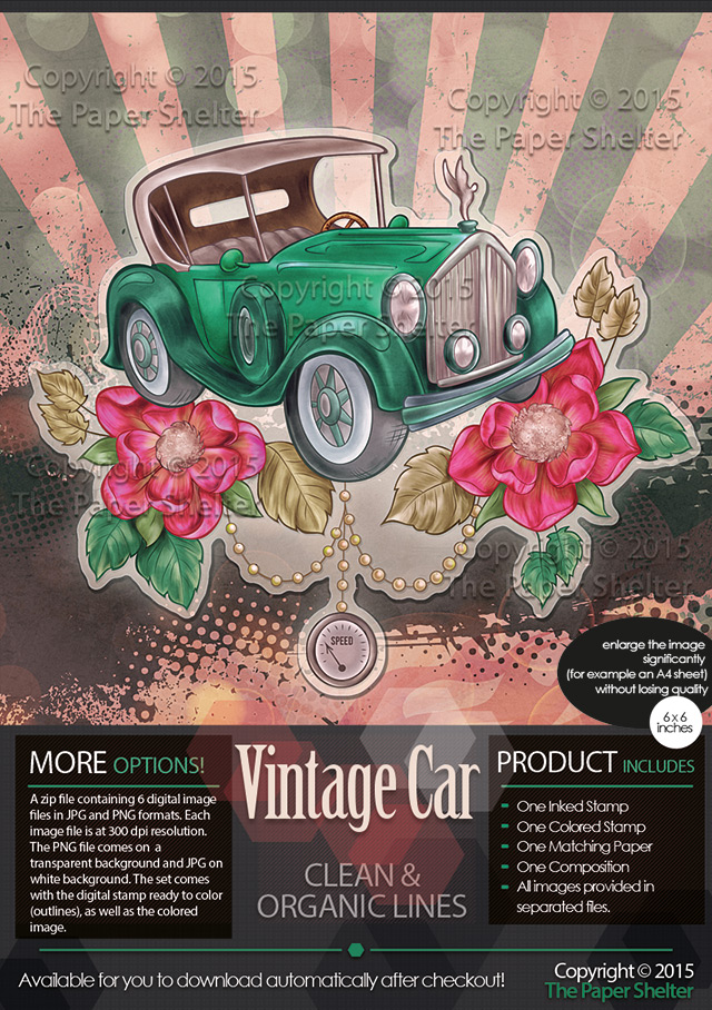 Vintage Car - Digital Stamp