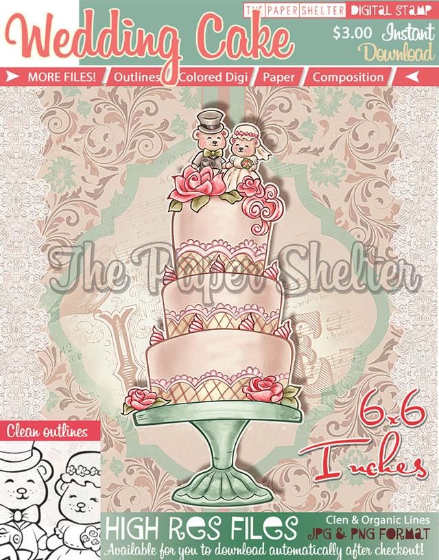 Wedding Cake - Digital Stamp