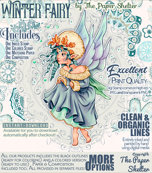 Winter Fairy - Digital Stamp